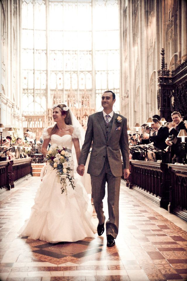 cathedral wedding couple