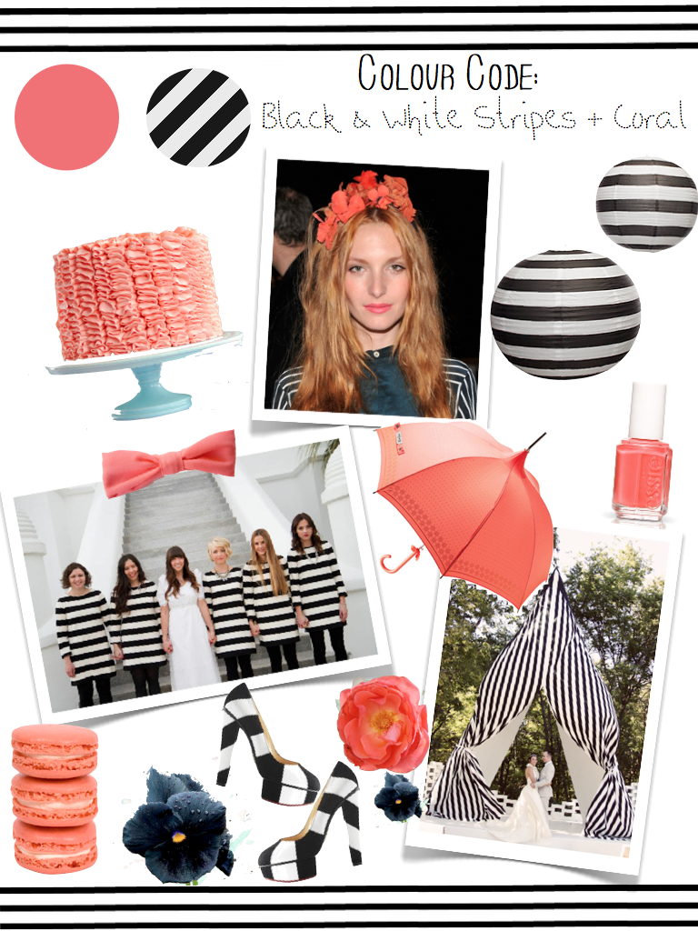 COLOUR CODE - BLACK, WHITE, CORAL - The Bijou Bride