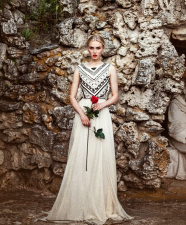 tribal print wedding dress