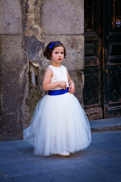flower girl dress with blue sash
