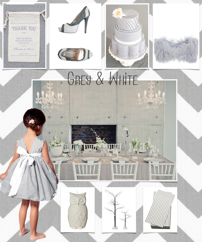 grey and white wedding theme