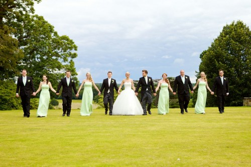 green and white wedding party