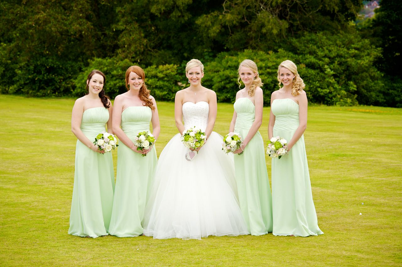 green and white bridesmaid dresses all white wedding dress Real Bijou Bride Lorna S Green And White Wedding The Green White Wedding Dress