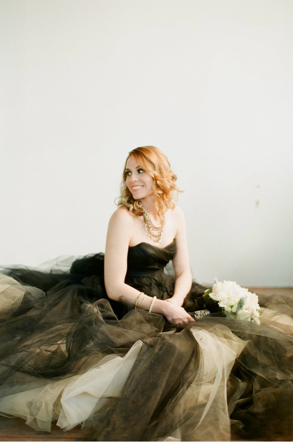 bride wearing black dress