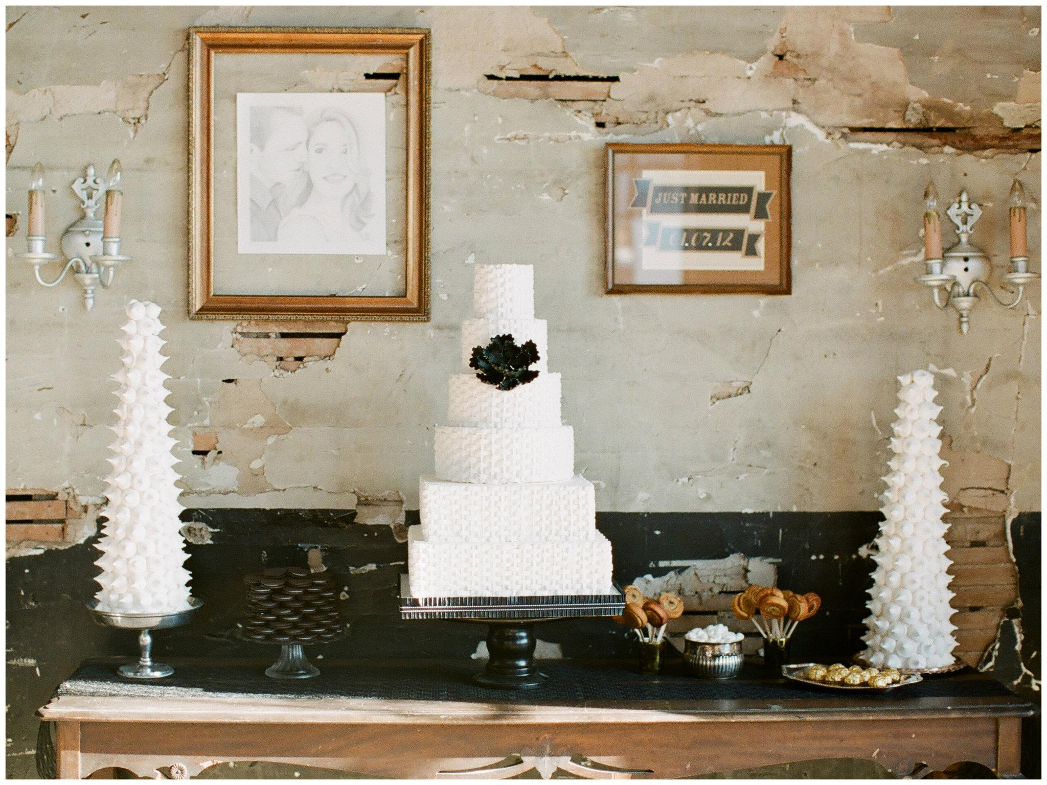 white and black wedding cake table