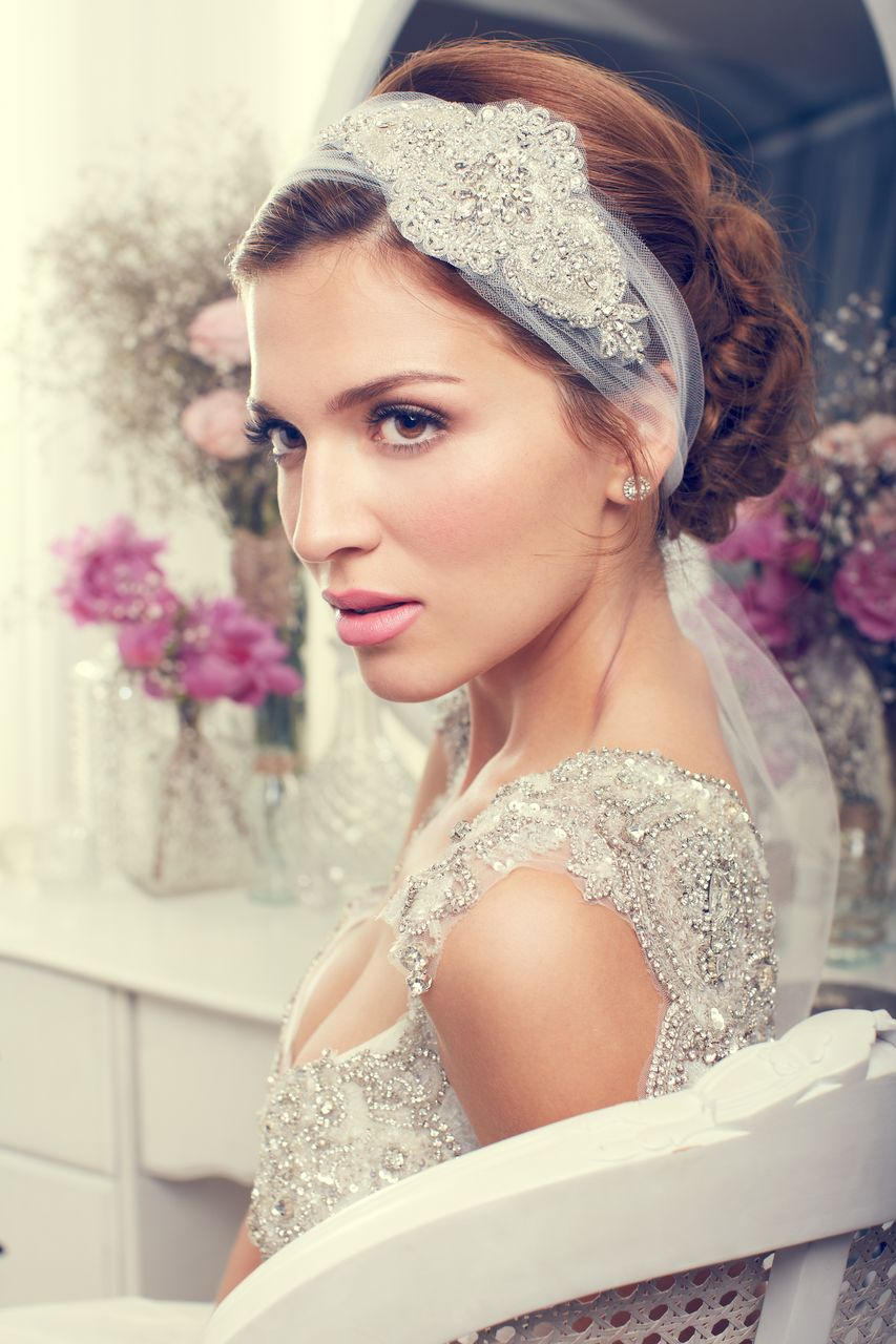 tulle headband bridal