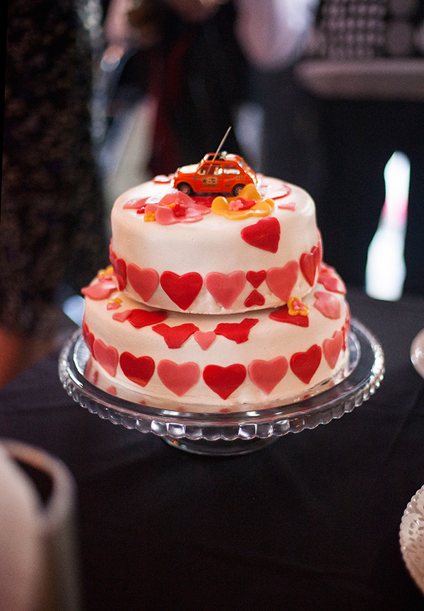 red and white heart wedding cake