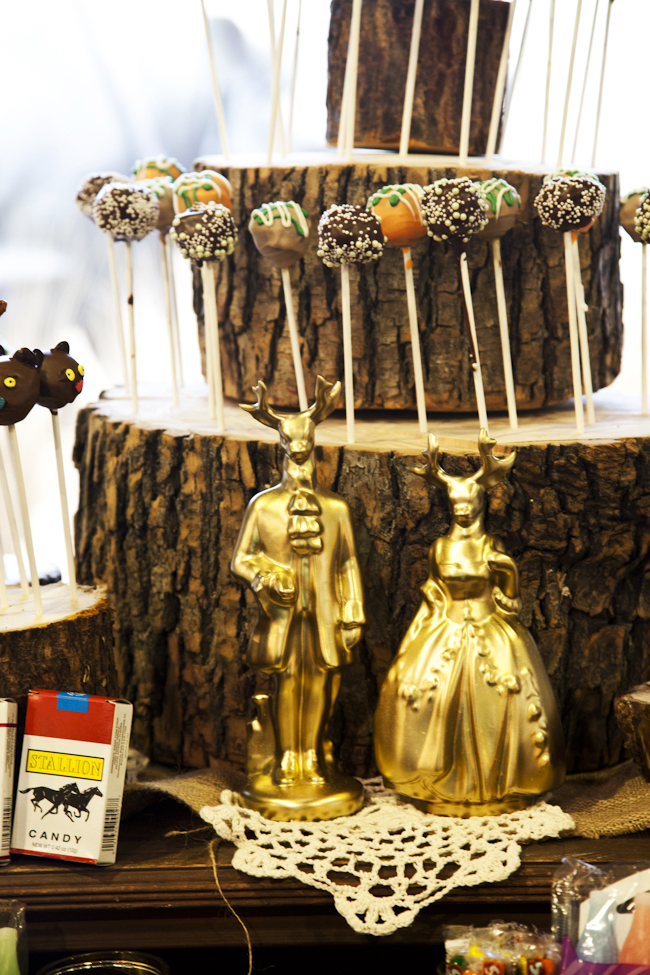 animal themed wedding dessert table