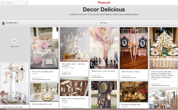 using pinterest for wedding planning