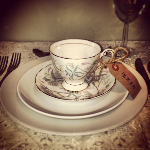 tea cup wedding place setting
