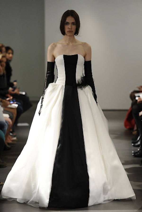 monochrome wedding dress vera wang