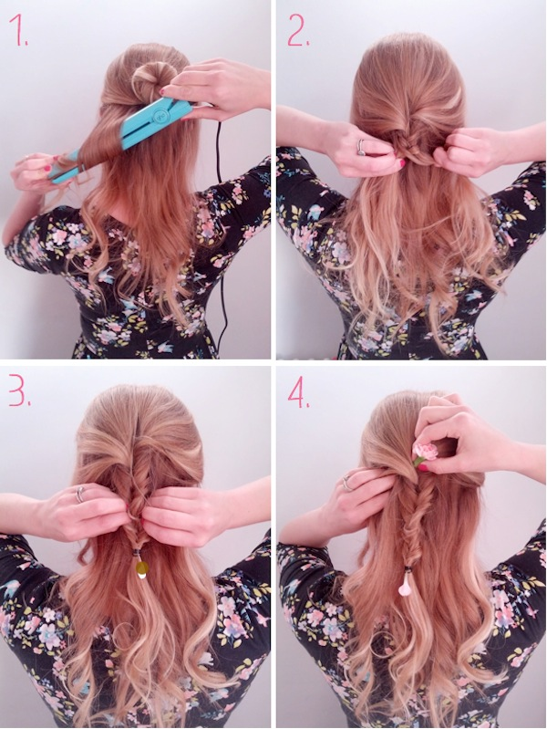 bridesmaid plait tutorial with flowers tutorial