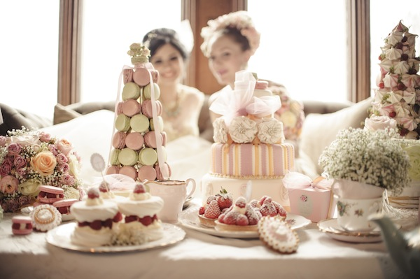chic parisian wedding dessert table