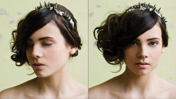 spikey bridal headband