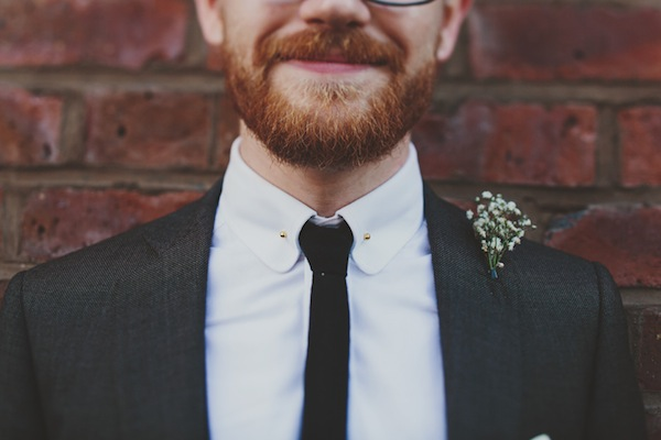 groom with skinny tie