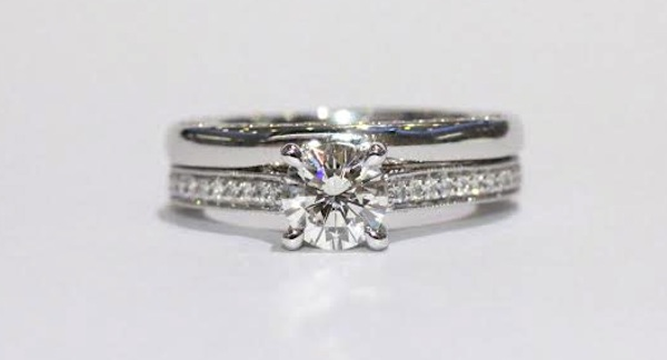 wedding band with engagement ring