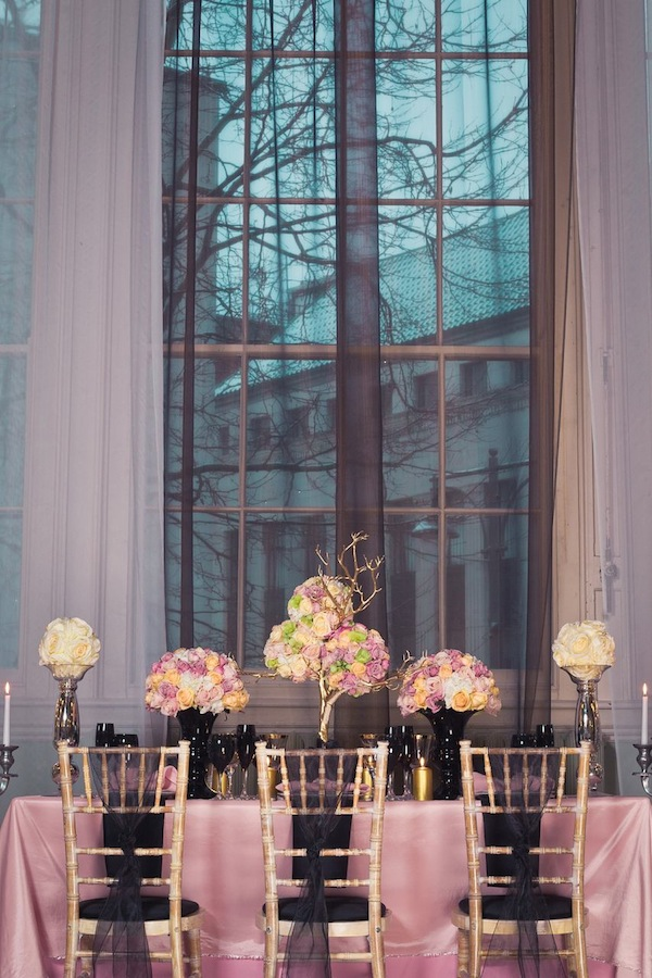 black pink gold wedding decor