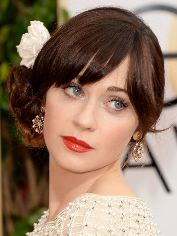 Zooey Deschanel bridal worthy golden globes 2014 beauty