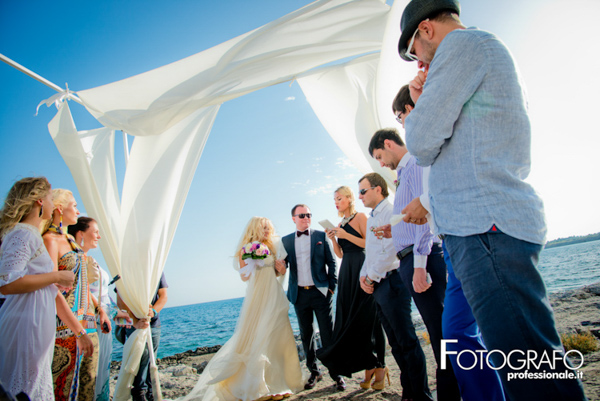 stylish sicilian wedding beach ceremony