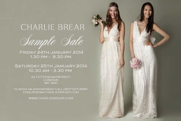 charlie brear bridal sample sale
