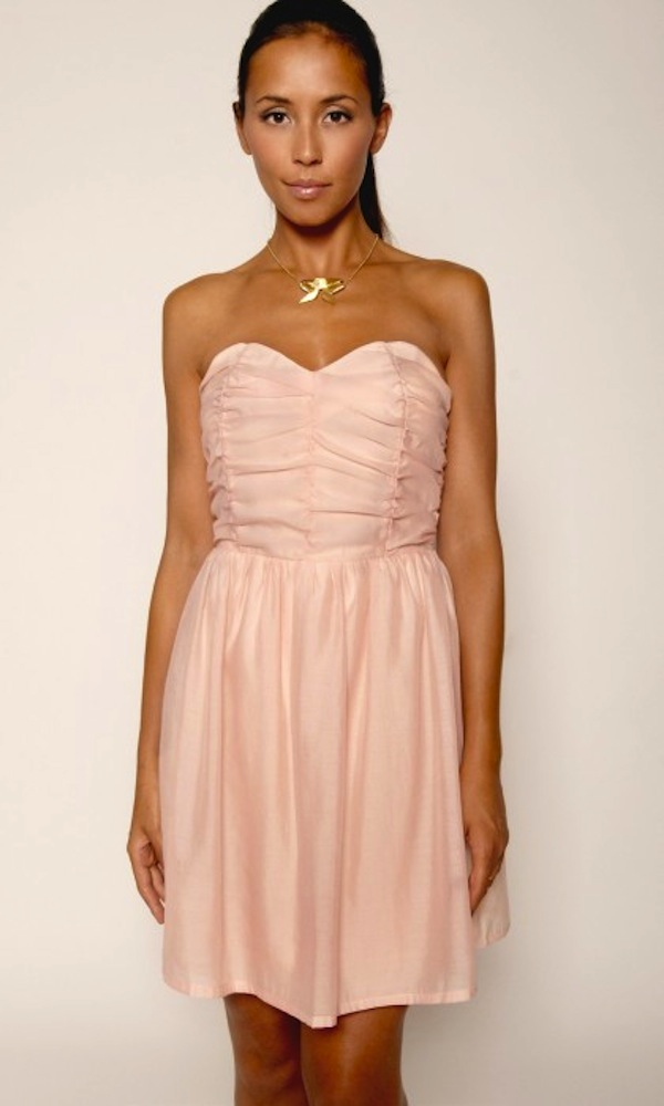 chiffon crepe bandeau skirt pink dress