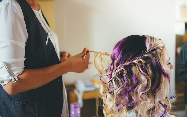 purple hair bride