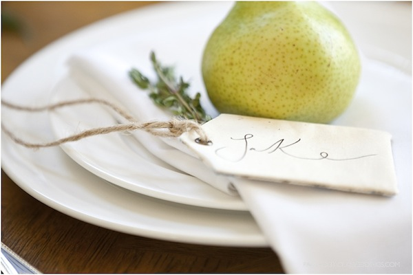 calligraphy and pear place setting