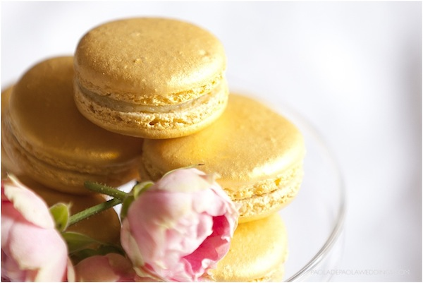 gold macarons wedding