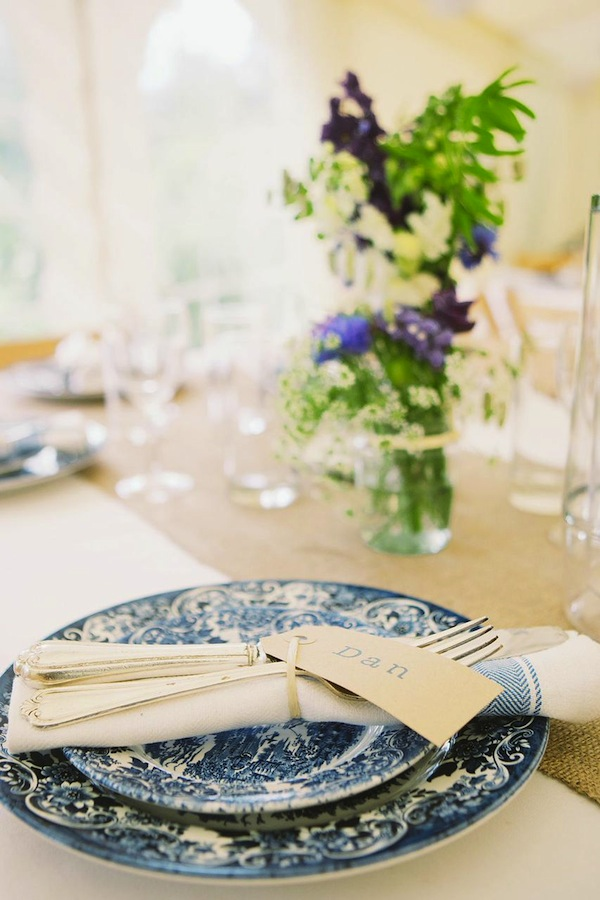 blue wedding crockery