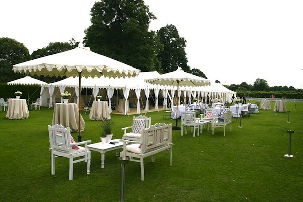 decorating outside a marquee