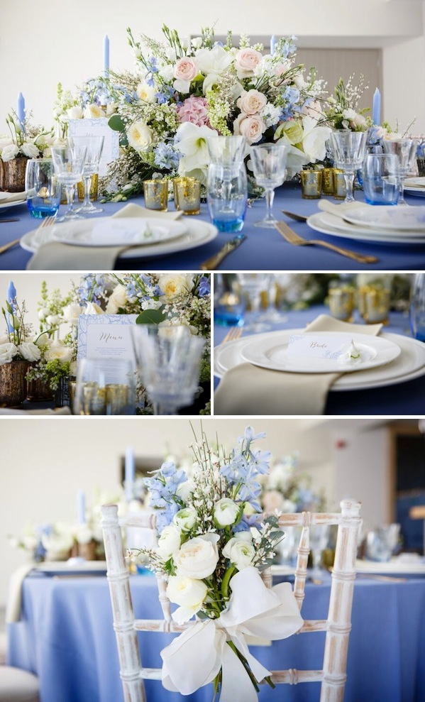 blue white and gold wedding inspiration