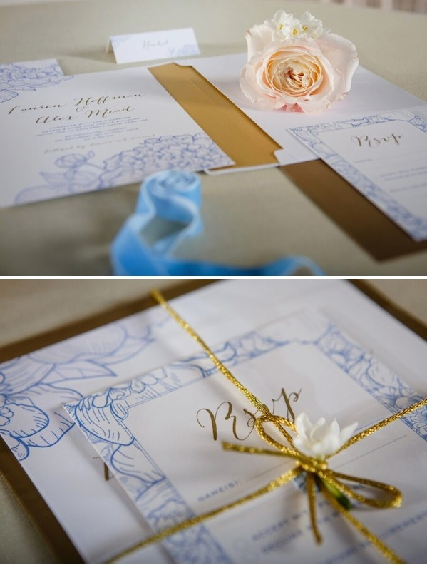 blue white and gold wedding stationery inspiration