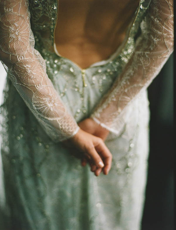 lace and glitter wedding dress