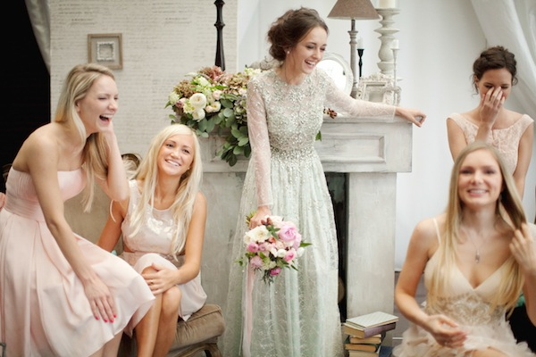 blush sparkle bridesmaids