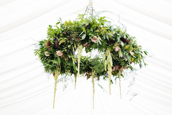 hanging wedding flowers chandelier