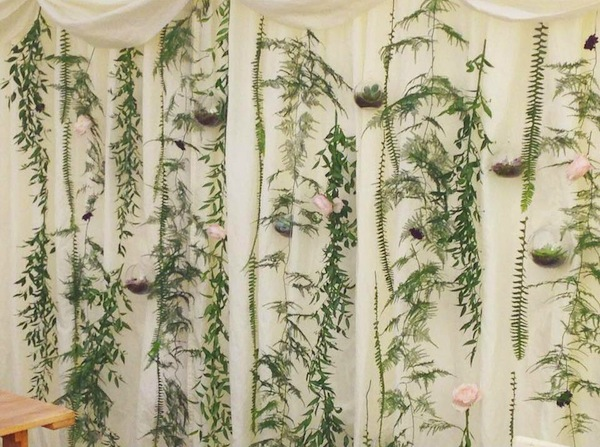 foliage curtain wedding