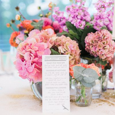 pink wedding table flowers