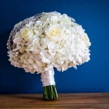bridal bouquet with crystal brooch