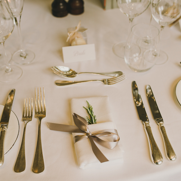 herb and ribbon wedding place setting