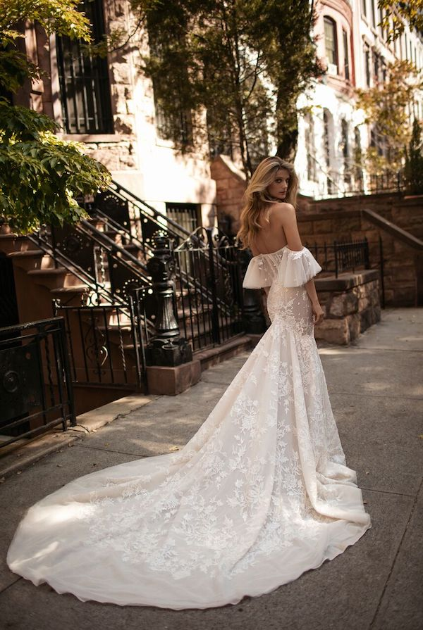 luxury wedding dress cold shoulder