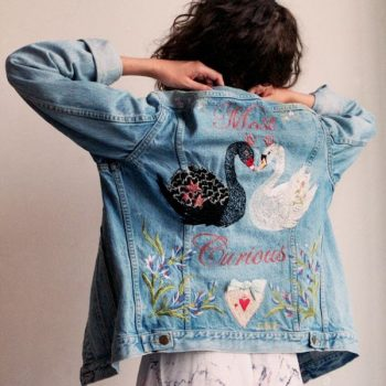 bridal painted denim jacket